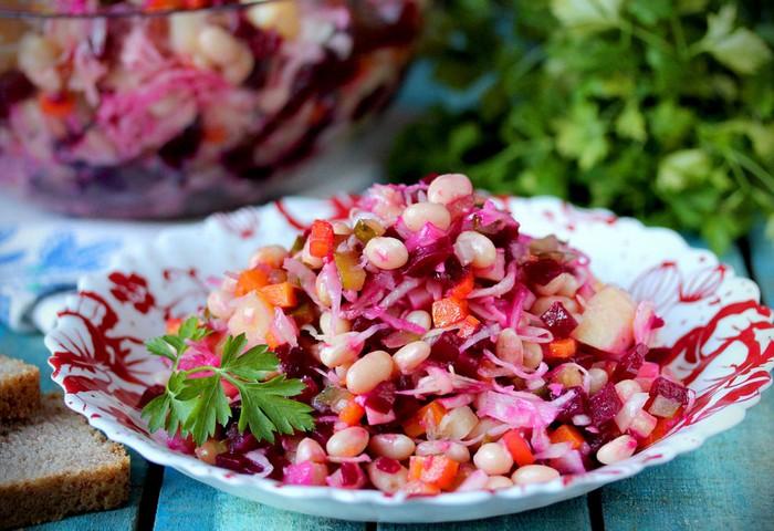 Рецепт винегрета с квашенной капустой и фасолью