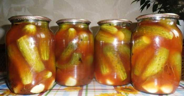 Огурчики в томатном соусе