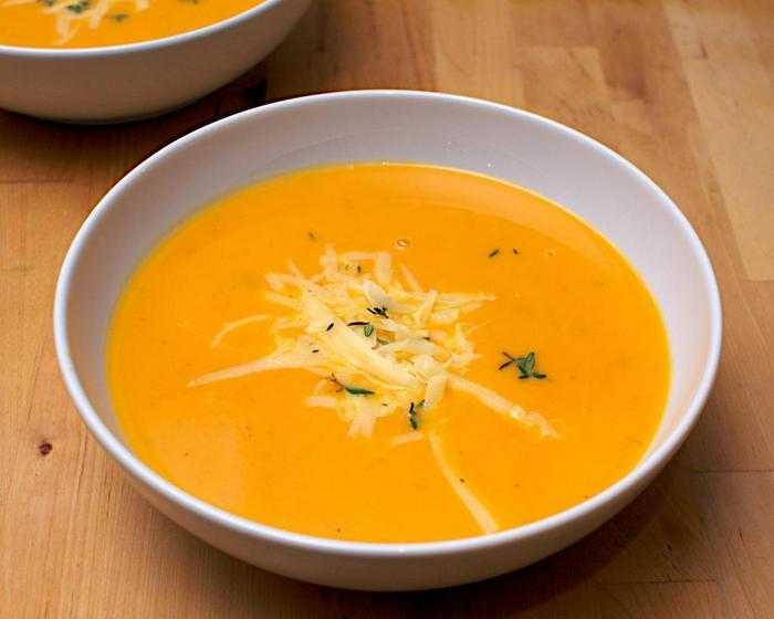 Тыквенный суп-пюре с плавленым сыром