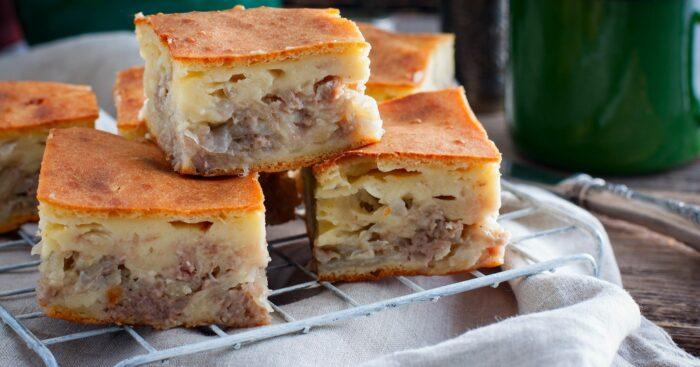 Сытный заливной картофельный пирог