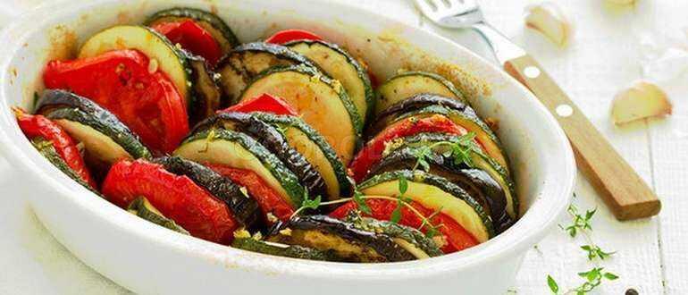 Запеченные овощи с грибами