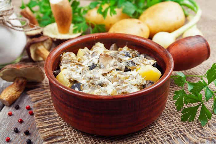 Картошка с грибами со сметаной фото