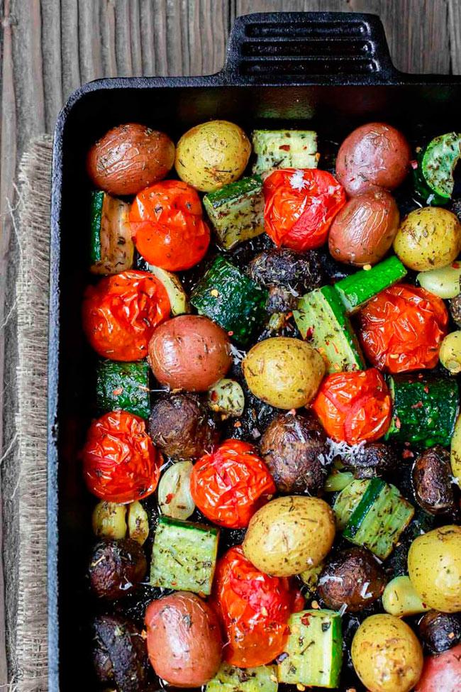 Овощи запеченные в духовке Рецепт на противне