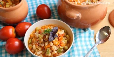 Фасоль с овощами в духовке