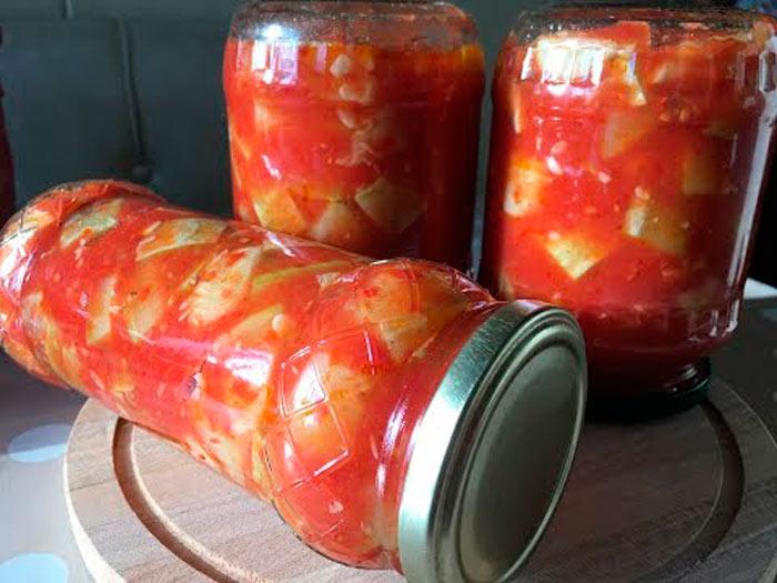 Кабачки с томатным соком