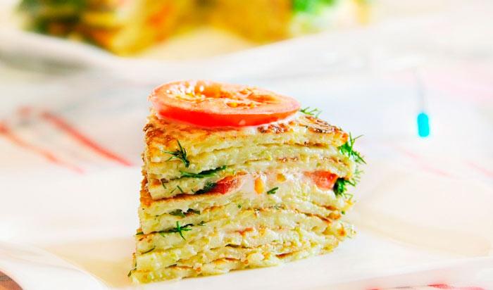 Торт из кабачковых блинчиков фото