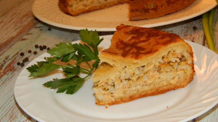 Заливной пирог с картофельным пюре