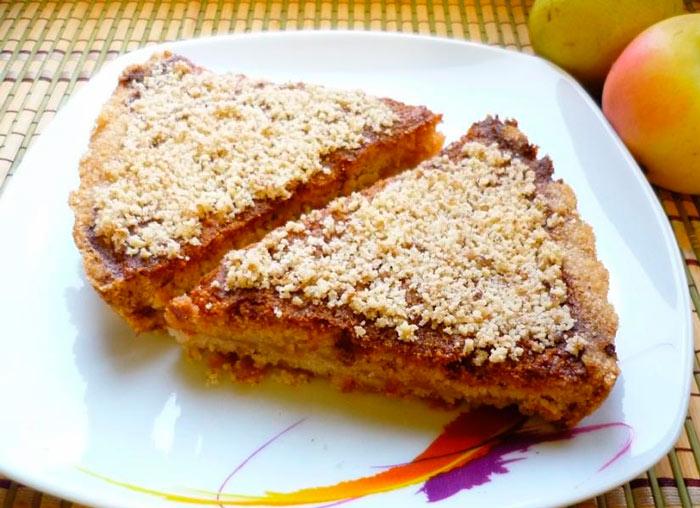 Постный яблочный болгарский насыпной яблочный пирог