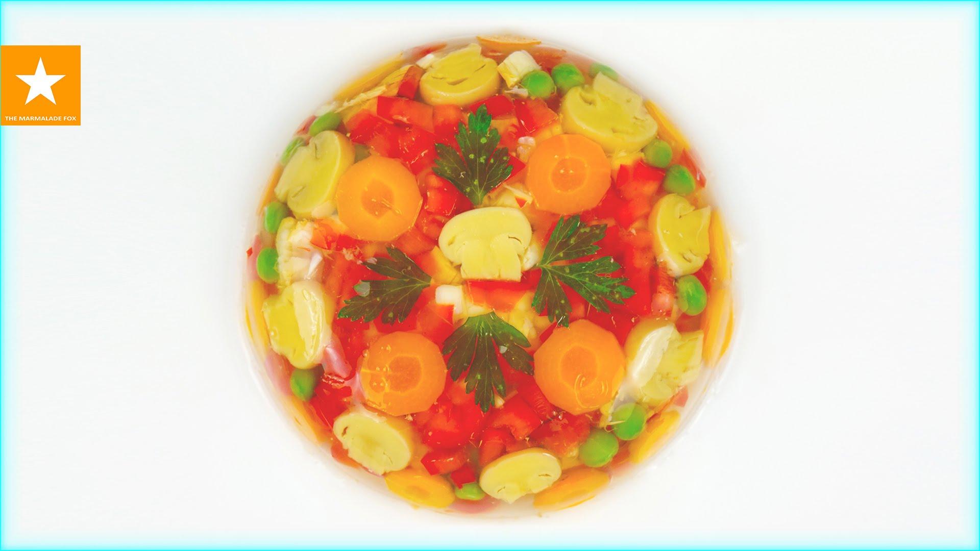 Овощное заливное на вкуснейшем овощном бульоне
