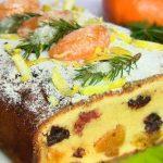 Вкусный рождественский кекс с сухофруктами и мандаринами