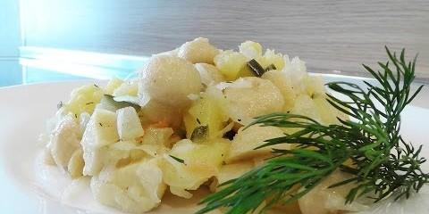 Салат из шампиньонов с картофелем. Великий Пост.