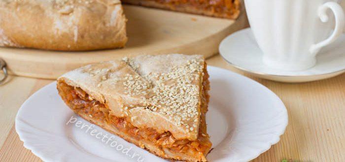 капустный пирог с творожным тестом