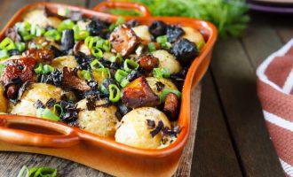 картошка с солеными грибами