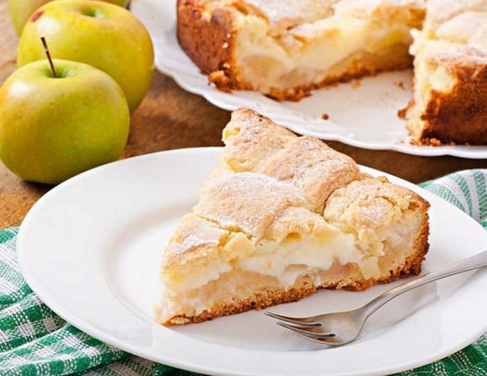 яблочный пирог с заварным кремм