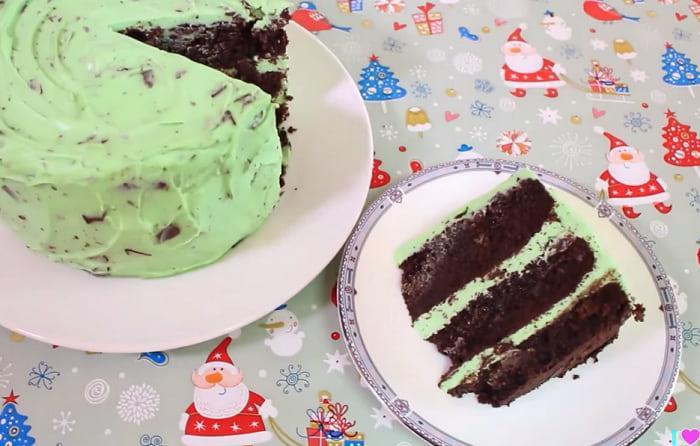 Торт с мятным кремом