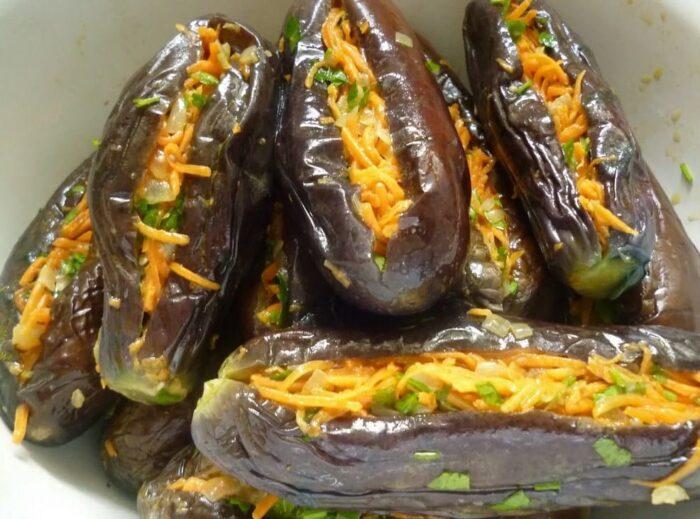 Очень вкусные фаршированные баклажаны по-гречески - манзаны